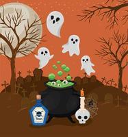 fantasmas de halloween e caldeirão de bruxa em frente a um desenho vetorial de cemitério vetor