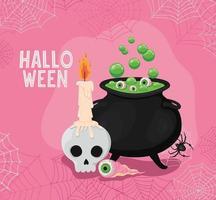 desenho de vetor de caveira de halloween com vela, globo ocular e caldeirão de bruxa