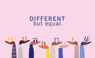 conceito de diversidade e humanidade com mãos inter-raciais para cima vetor