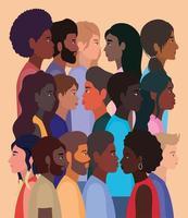 fundo diversificado de pessoas em desenhos animados vetor