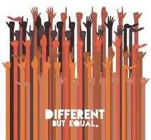 conceito de diversidade com mãos inter-raciais para cima vetor