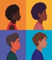 diversidade de perfis de mulheres e homens em fundo de quadros multicoloridos vetor