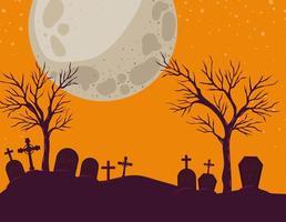 fundo de halloween com cena de cemitério à noite