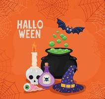 caldeirão de bruxa de halloween, chapéu e veneno com desenho vetorial de teia de aranha vetor