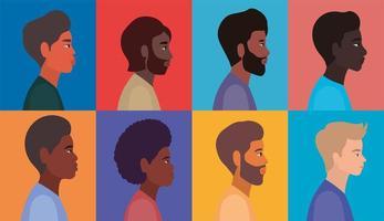 diversos perfis masculinos em molduras multicoloridas vetor
