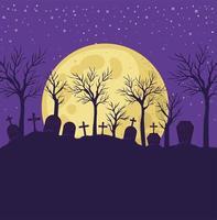 fundo de halloween com cena de cemitério à noite vetor