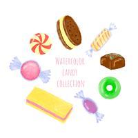 Coleção de doces em aquarela vetor
