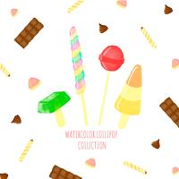Lollipop bonito com doces ao redor vetor