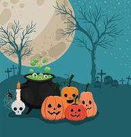 abóboras de halloween e caldeirão de bruxa em frente ao desenho vetorial do cemitério vetor