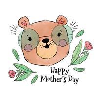 Mamãe fofa urso com óculos e folhas vetor