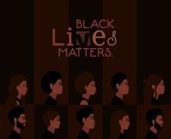 o fundo diversificado de personagens de desenhos animados para vidas negras importa vetor