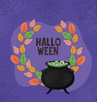 caldeirão de bruxa de halloween com folhas e desenho vetorial de teias de aranha vetor