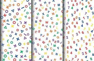 letras do alfabeto e padrões de formas geométricas vetor