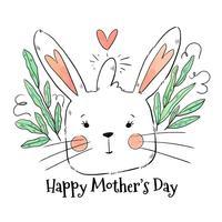 Bonitinho mãe coelho para o dia das mães vetor