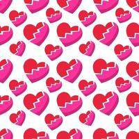 coração partido símbolo sem costura padrão ilustração de fundo vetor