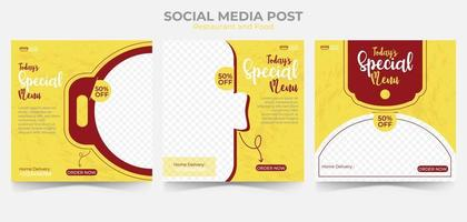 comida e restaurante menu banner postagem de mídia social. conjunto de modelo de mídia social editável para promoção.