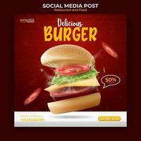 comida e restaurante menu banner postagem de mídia social. modelo de mídia social editável para promoção. ilustração vetorial com hambúrguer realista