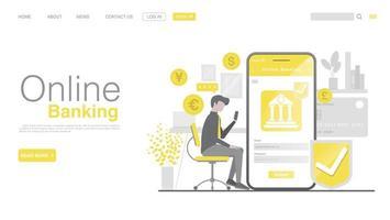 banco online e pagamento móvel. página de destino em estilo simples. vetor