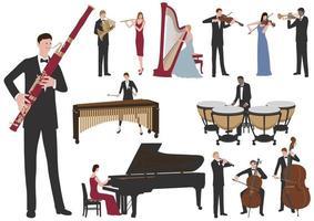 músicos realizando conjunto de ilustração plana de vetor. Ilustrações fáceis de usar isoladas em um fundo branco. vetor