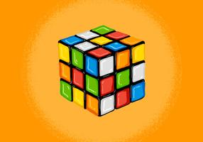 ilustração do cubo de rubik retrô vetor