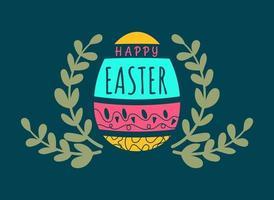 Feliz Páscoa cartão tipográfico fundo com ovo vetor