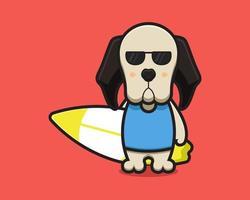 O mascote do cachorro fofo usa óculos e está segurando a prancha de natação. vetor