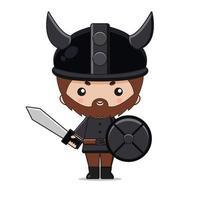 Desenho de personagem bonito mascote viking com espada e escudo vetor