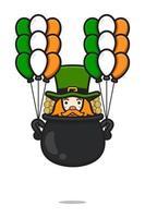 Personagem de duende bonito do dia de São Patrício voando com a ilustração do ícone do vetor do desenho de balão