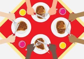 Jantar com amigos diversos vetor