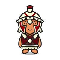 Ilustração em vetor personagem de desenho animado bonito cavaleiro romano mascote