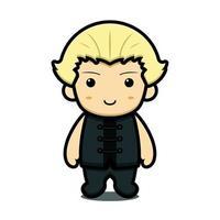 personagem de mascote da arte marcial de menino bonito com ilustração de ícone de desenho animado em vetor rosto feliz