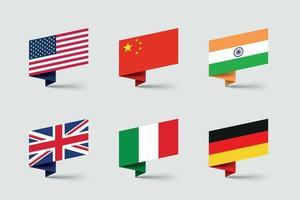 conjunto de vetores de formas de fitas de papel dobradas em 3d bandeiras nacionais