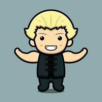 personagem de mascote da arte marcial de menino bonito com ilustração de ícone de desenho animado de vetor de grande músculo