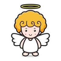 rosto bonito do personagem de desenho animado de anjo vetor