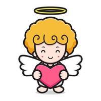 personagem de desenho animado de anjo fofo abraça coração vetor