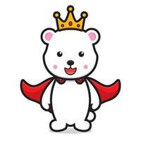 personagem de desenho animado bonito rei urso branco usando coroa vetor