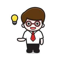 personagem de empresário fofo tem ideia de desenho animado ícone de ilustração vetorial vetor