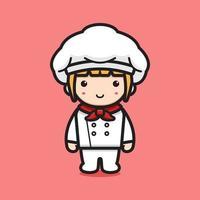 ilustração do ícone do vetor fofo chef personagem de desenho animado