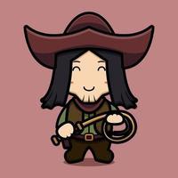 personagem de cowboy fofinho segurando a ilustração do ícone do chicote dos desenhos animados vetor