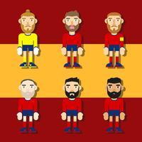 Vetor de ilustração plana de personagens de futebol espanhol