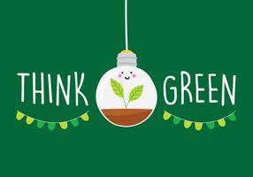 Pense cartaz de campanha verde vetor