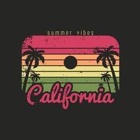 ilustração das vibrações do verão na praia da califórnia vetor