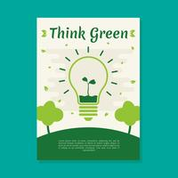 Pense modelo de vetor de cartaz verde