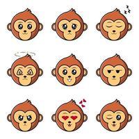 conjunto fofo macaco mascote vetor