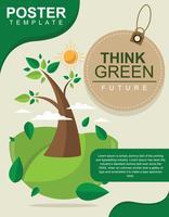Simples Pense Design De Cartaz Verde vetor