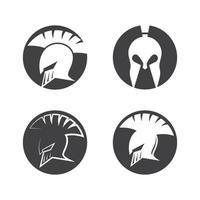 conjunto de ilustração de imagens de design de logotipo espartano vetor