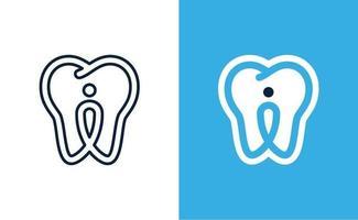 pino dentário e logotipo do dente vetor