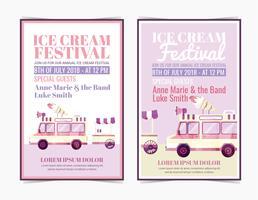 Festival do sorvete do vetor posteres
