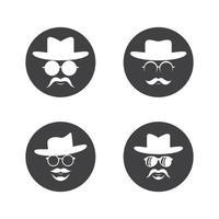 Conjunto de ilustração de imagens de logotipo de chapéu de cowboy vetor