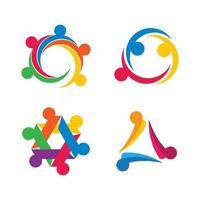 conjunto de design de imagens de logotipo de cuidado comunitário vetor